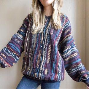 Vintage Multicolored Textured Grandpa Sweater